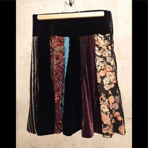 Velvet printed velvet and lace matched skirt.